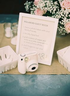 Favorite guest book idea..guests take a Polaroid of themselves and then write a message on it!