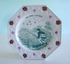 Superb Staffordshire ~ THE BIRD CATCHER ~ Teal Transferware Child's Plate c1830