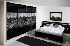 schwarz-weißes innendesign - schlafzimmer