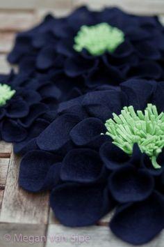 wallflowers in navy & mint by Megan Van Sipe