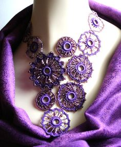 Purple #Crocheted Beaded Medallion Circle Fiber Necklace
