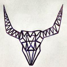 Taurus tattoo design geometric