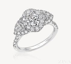 Oval Halo Engagement Ring with Triangle Diamond Sides