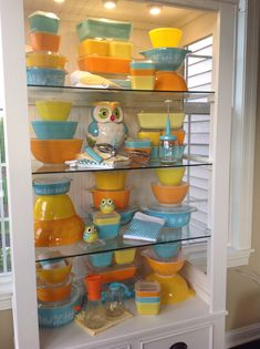 Pyrex; turquoise, orange and yellow
