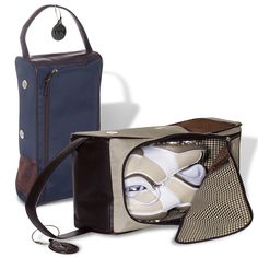 Microfiber with simulated leather trim and houndstooth lining. Mesh pockets and metal vents for air circulation. Part of the Leeman New York Collection. Supplier is QCA certified. Golf Shoe Bag, Golf Shoes, Golf Bags, Golf R, Golf Gifts, Golf Accessories, Corporate Gifts, Custom Logos, Houndstooth
