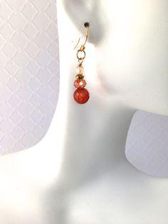 Orange Earrings Semi Precious Stones Gold by SRyanJewelryDesigns