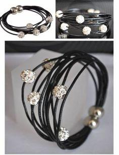Pulsera de Cuero negro con Abalorios diamante de imitación y cierre magnético...