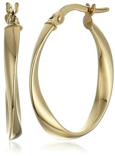 14k Yellow Gold Twisted Oval Hoop Earrings | Earrings---- Beautiful,Elegant and Pretty Earrings suitable for Wedding,Casual and Work Wear in Summer/Spring 2016 ------- Great Earrings for Bridesmaid  -------