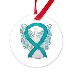 Teal Awareness Ribbon Angel Ornament