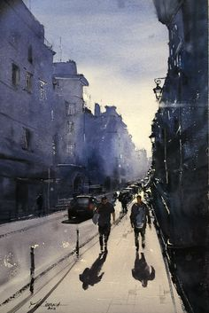 Back home – Maria Cornea Watercolor Artists, Watercolor Landscape, Watercolor Paintings, Drawing Sketches, Drawings, Impressionist Art, Beautiful Lights, Watercolours, Online Art Gallery