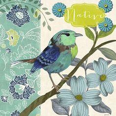 03-2553 - Aviary-Blue Wing Bird By Jennifer Brinley
