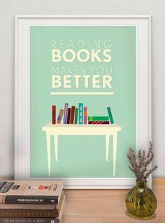 Reading books 16x12, School Wall print, Library, Motivational wall art, Home decor, Educational, Kids room, Scandinavian. $15.90, via Etsy.