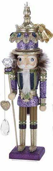 Hollywood Decorative Fancy Purple Sparkle Glitter King Christmas Nutcracker