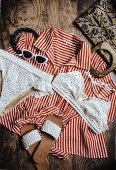 Hot Summer Outfits, Warm Weather Outfits, Summer Swimwear, White Swimsuit, White Sandals, Two Piece Bikini, Summer Bags, Spring Trends, Get Dressed