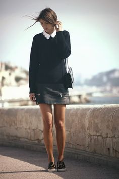 collar, knit, leather skirt & sneakers #style #fashion