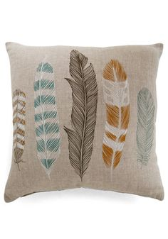 Achieve a naturally cohesive vibe by including this lovely linen pillow in your home decor! This square throw pillow's light sandy tone and sketch-like feather illustrations in aqua, mustard, stone, white hues coalesce brilliantly with your already-organic style. Try it as an armchair accent or enhance a daybed with this boho-chic cushion!