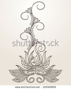 Hand-Drawn Abstract Henna Mehndi Abstract Flowers and Paisley - pastel greeting card by Meelena, via Shutterstock