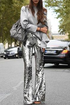 Discover recipes, home ideas, style inspiration and other ideas to try. New Years Outfit, New Years Eve Outfits, Night Outfits, Fashion Outfits, Cool Outfits, Outfit Night, Sequin Outfit, Sequin Pants, Sequin Jumpsuit