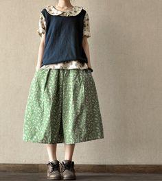 Flower Lovely skirt Cotton Big women Linen Skirt