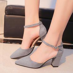 1d4ae2946e1c Women s Pumps Square High Heels Flock Party Shoes Elegant Casual Women Shoes  Rome Soft Wedding Female
