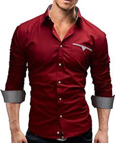 Merish Hemd Herrenhemd Freizeithemd Businesshemd Slim Fit 4 Farben Größen S-XXL Herren Modell 58 Rot XXL