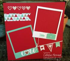 Two great pages by Catherine. Some items used: Language of Love, Banner Blast (SAB), Peachy Keen, Fresh Prints dsp stack, On Film framelits. All supplies from Stampin' Up!