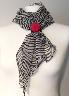 Excited to share the latest addition to my #etsy shop: Zebra print silk scarf, black and white accessories with a red rose, classic gift for her, Christmas present for mum