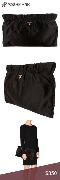 Authentic Prada Ruffle Satin Clutch Bag Black Satin Prada Clutch. Pink Interior, Gold exterior hardware. Gently used. Prada Bags Clutches & Wristlets