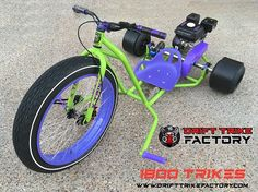 Buy Motorised Drift Trike Blue + Red Anodised Parts + Red Triad Seat Online Drift Trike Parts, Bike Drift, Motorized Big Wheel, Drift Trike Motorized, Drift Trike For Sale, Go Kart Chassis, Drift Kart, Red Color Combinations, 3rd Wheel