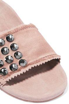 Pedro Garcia - Arabela Swarovski Crystal-embellished Satin And Suede Slides - Blush - IT40.5