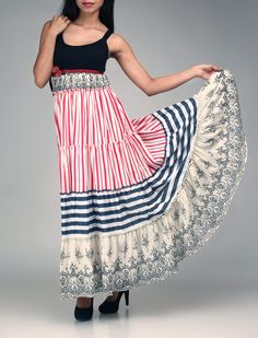 Red, Blue, Black and white printed multilayer boho dress with a black knit yoke.