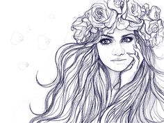 my drawing of girl with flowers in her blowed hair, www.qoolka-art.co.uk www.facebook.com/kulagowska.art