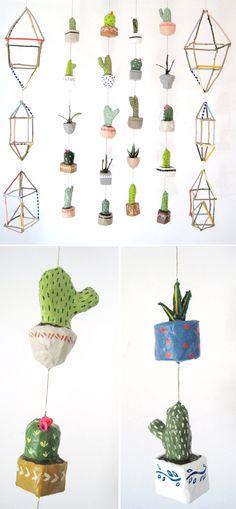 LA based artist Kim Baise creates these crazy mobiles with papier mache