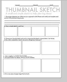 Art Class Thumbnail sketch, brainstorming & self evaluation