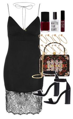 """Outfit for prom with a lace slip dress and detailed purse"" by ferned ❤ liked on Polyvore featuring Topshop, Lilou, Alexander McQueen, ASOS, Zara and NARS Cosmetics"