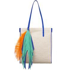 The Volon Shu-shu Aqua Blue Trim Shopper ($264) ❤ liked on Polyvore featuring bags, handbags, tote bags, aqua blue, fringe handbags, white purse, aqua purse, shopper handbags and shopping tote
