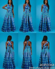 Dresses can be turned into skirts and vice versa; and sleeved dresses can become sleeveless with a single modification. Infinity dresses let you wear 1 dress in 10 different ways, depending on its style. African Maxi Dresses, African Fashion Ankara, Latest African Fashion Dresses, African Print Fashion, Africa Fashion, African Attire, African Wear, African Women, Infinity Dress