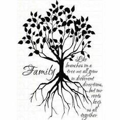 Silhouette family tree tattoo
