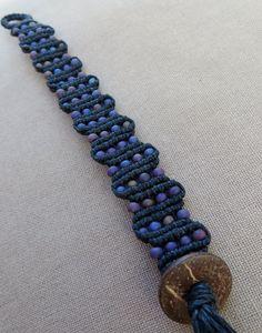 Bracelet en macramé chanvre avec verre - bijoux Macramé de chanvre