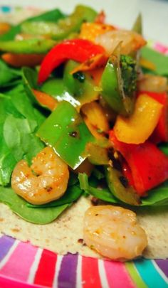 Healthy Shrimp Fajitas    Calories: 225, Fat 3.2, Carbs 27g, Protein 21g     Recipe Under Exciting Entrees!!