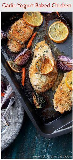 Garlic-Yogurt Baked Chicken | Use oat bran instead of panko flakes.