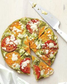 Tomato-Pesto Frittata Recipe Featuring the flavors of the season's greatest salad -- the caprese -- this vividly colored, garden-fresh frittata makes a gorgeous meal.