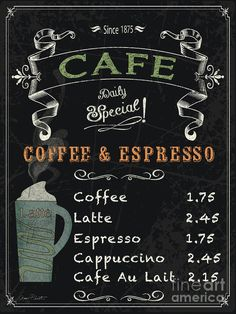 Cafe Blackboard Coffee Menu-jp3046 Art Print by Jean Plout.  All prints are professionally printed, packaged, and shipped within 3 - 4 business days. Choose from multiple sizes and hundreds of frame and mat options.