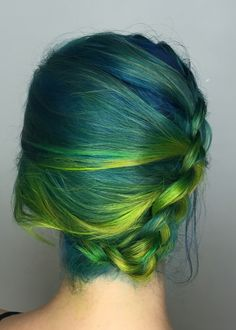 Blue hair with green ombre side Dutch braid upstyle by Chita Beseau