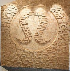 Lululemon Textured Wall/Logo Design   #modernofficearchitecture #wallcandy