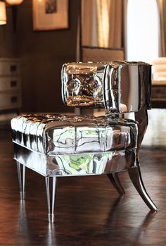 Joel Morrison with Jean de Merry & Christian D. Maroselli - mirrored upholstered furniture? for @: basia #Chairs #Mirrors