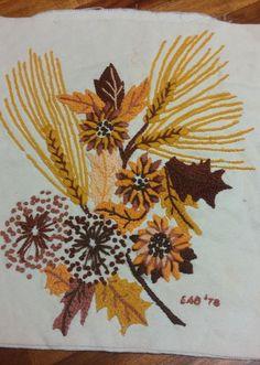 "Crewel Nature Vintage Needlework Pillow Earth Tones Frameable 12""x14"" Wheat | eBay"