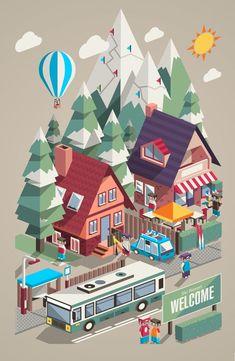 Ski Resort & Snowboarding by Robert Filip, via Behance