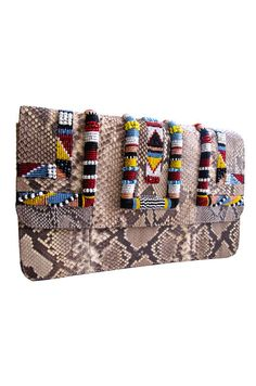 // beaded python clutch