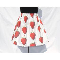 Strawberry Skirt featuring polyvore fashion clothing skirts silver women's clothing white knee length skirt white skirt elastic waist skirt